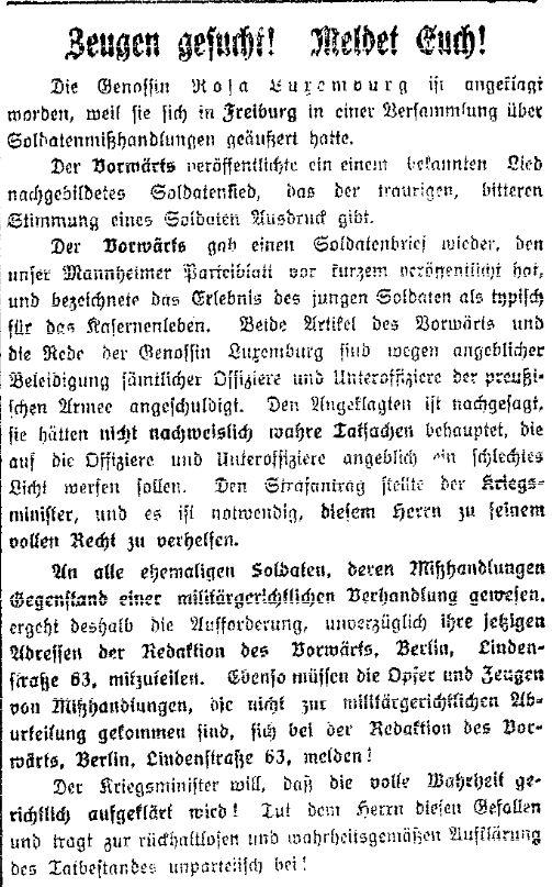 Zeugenaufruf in der »Volkswacht« (Westpreußen) vom 9. Juni 1914.