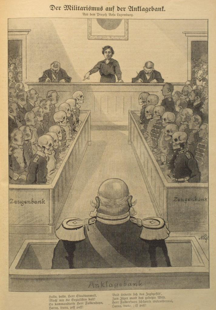 Rosa Luxemburg als Richterin über den Militarismus. Karikatur aus »Der Wahre Jacob« vom 25. Juli 1914, Nr. 731, S. 8417.