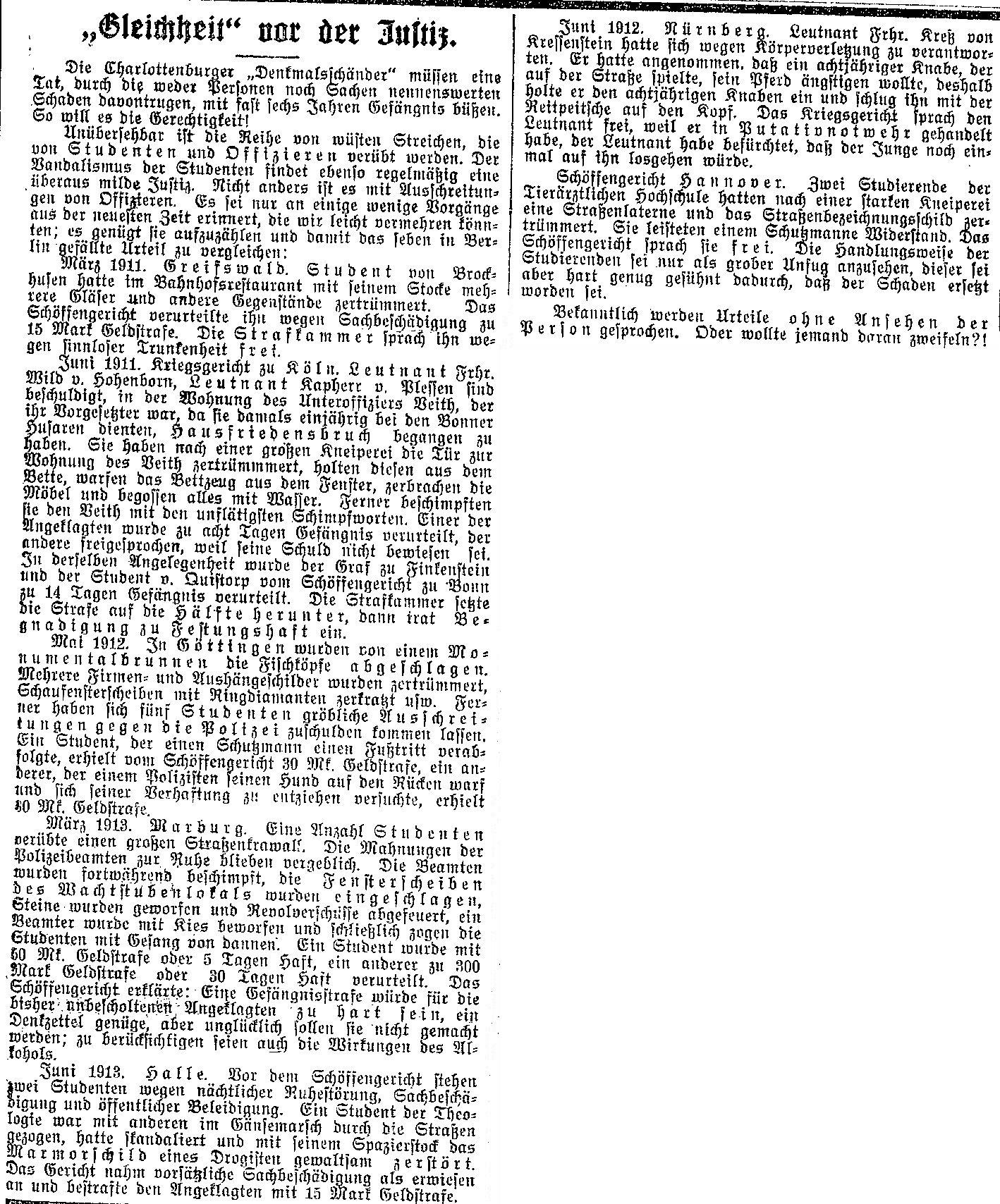 Ausschnitt des »Lübecker Volksboten« vom 13. Juni 1914.