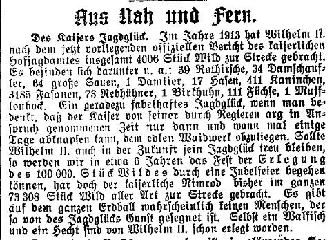 Ironischer Kommentar des »Lübecker Volksboten« vom 9. Juni 1914.