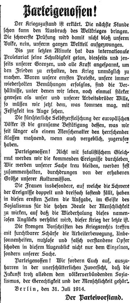Abbruch der Antikriegsbewegung: Aufruf des SPD-Parteivorstands vom 31. Juli 1914 im »Lübecker Volksboten« vom 1. August 1914.