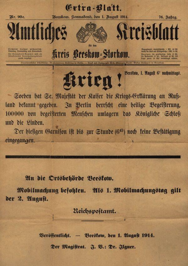 Extrablatt mit der Meldung zur Kriegserklärung und dem Befehl zur Mobilmachung vom 1. August 1914. Quelle: Archiv der sozialen Demokratie der Friedrich-Ebert-Stiftung.