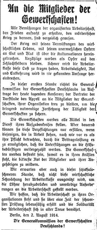 Mitteilung der Generalkommission der Gewerkschaften Deutschlands im »Lübecker Volksboten« vom 3. August 1914.