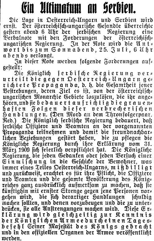 Ausschnitt der Meldung zum Ultimatum im »Lübecker Volksboten« vom 24. Juli 1914.