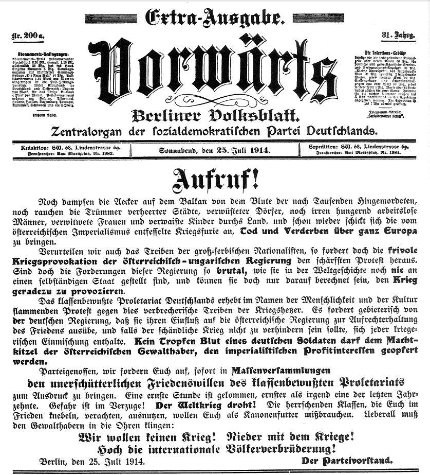 Aufruf des SPD-Parteivorstands zu Massenversammlungen gegen den Krieg in der Extraausgabe des »Vorwärts« vom 25. Juli 1914. Quelle: Archiv der sozialen Demokratie der Friedrich-Ebert-Stiftung.