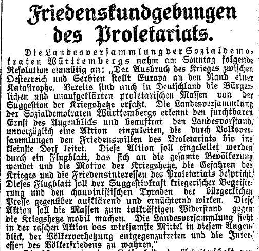 Bericht über den SPD-Landesparteitag in Esslingen im »Lübecker Volksboten« vom 28. Juli 1914.