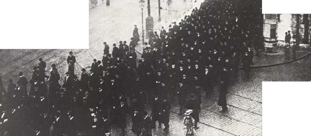 Bildausschnitt: Sozialdemokratische Friedensdemonstration in Berlin auf dem Weg zum Treptower Park 1914. Rechteinhaber unbekannt, Quelle: SPD.