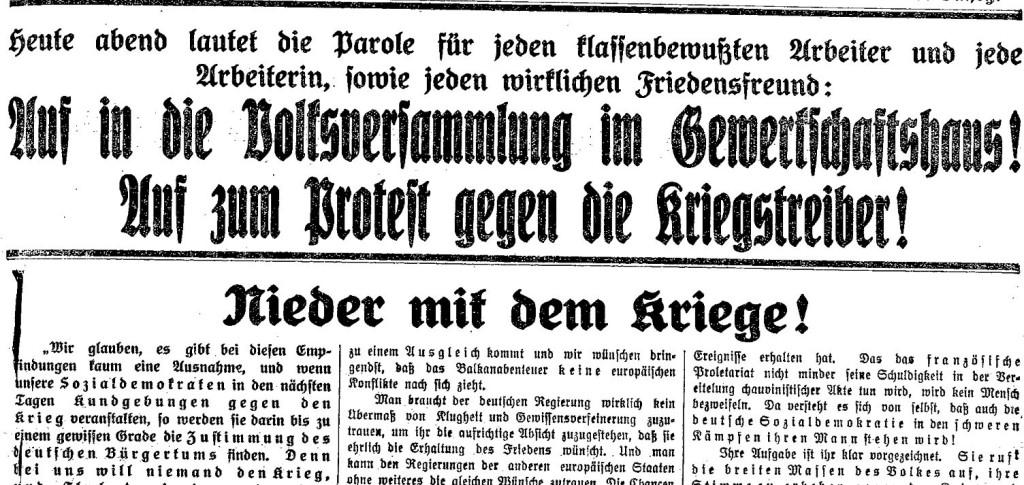 Ausschnitt des »Lübecker Volksboten« vom 28. Juli 1914.