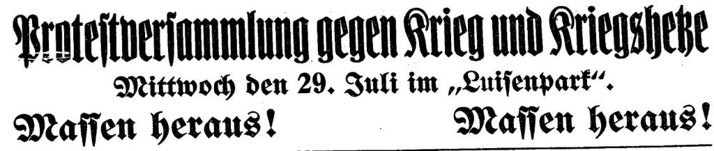 Ausschnitt der »Volksstimme« (Magdeburg) vom 28. Juli 1914.
