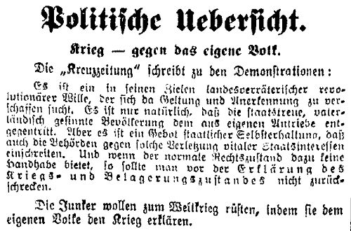 Ausschnitt aus der »Volkswacht« für Schlesien, Posen und die Nachbargebiete vom 31. Juli 1914 mit Zitat aus der konservativen »Kreuzzeitung« (Neue Preußische Zeitung).