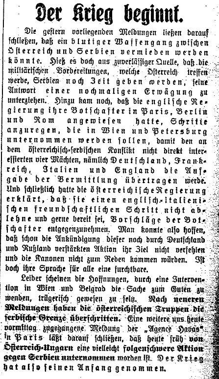 Meldung des »Lübecker Volksboten« vom 28. Juli 1914.