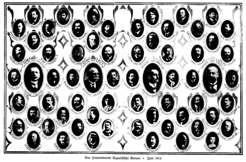Das Internationale Sozialistische Büro im Juni 1914. Broschüre zum X. Internationalen Sozialistenkongress in Wien 1914. Quelle: Archiv der sozialen Demokratie der Friedrich-Ebert-Stiftung.
