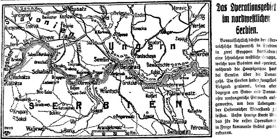 Karte aus der »Volksstimme« (Magdeburg) vom 29. Juli 1914 zum ›Operationsgebiet‹ in Serbien.