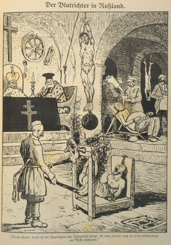 Karikatur zur Folter in Russland aus »Der Wahre Jacob« vom 1. Mai 1914, Nr. 725, S. 8321.