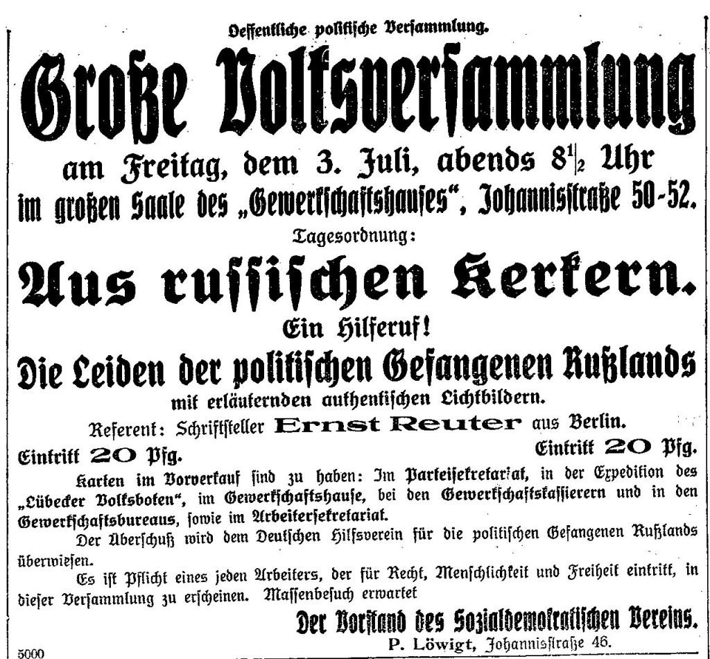 Bekanntmachung zur Volksversammlung im »Lübecker Volksboten« vom 2. Juli 1914.