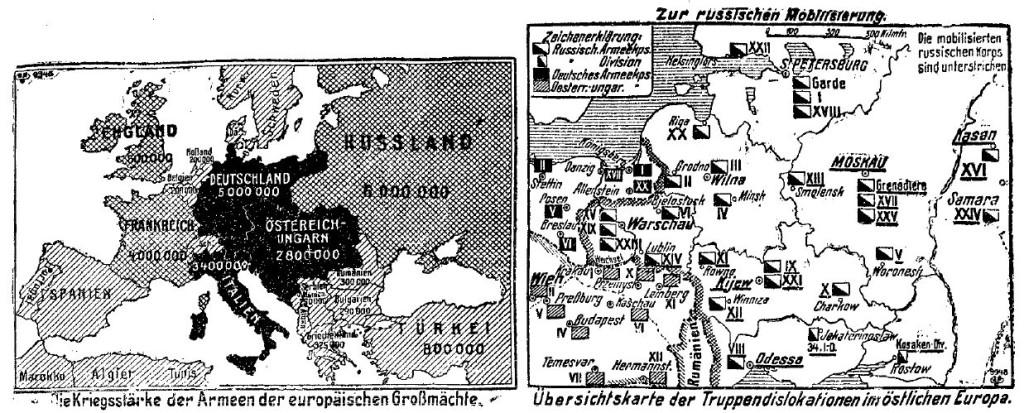 Karten zur Kriegsstärke der europäischen Armeen und zur russischen Mobilmachung in der »Volkswacht« für Schlesien, Posen und die Nachbargebiete vom 1. August 1914.