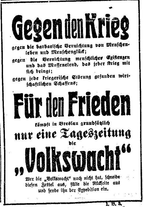 Abonnentenwerbung und Friedensaufruf in einem. Ausschnitt der »Volkswacht« für Schlesien, Posen und die Nachbargebiete vom 31. Juli 1914.