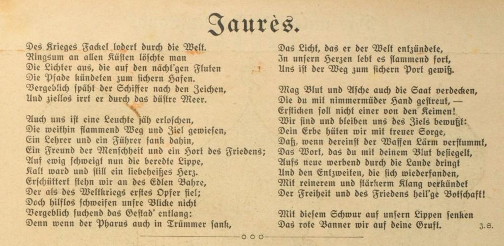 Gedicht zum Andenken an Jean Jaurès aus: »Der Wahre Jacob« vom 28. August 1914, Nr. 733, S. 8447.