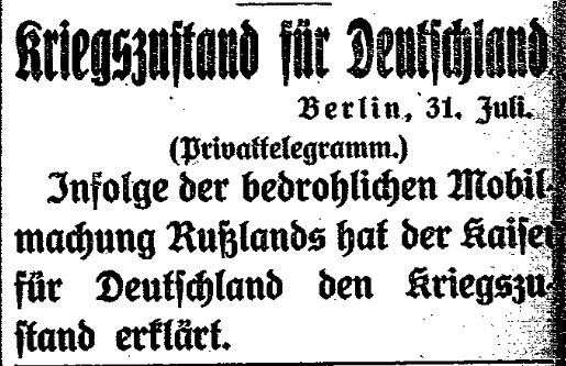 Meldung des »Lübecker Volksboten« zur Erklärung des Kriegszustands vom 31. Juli 1914.