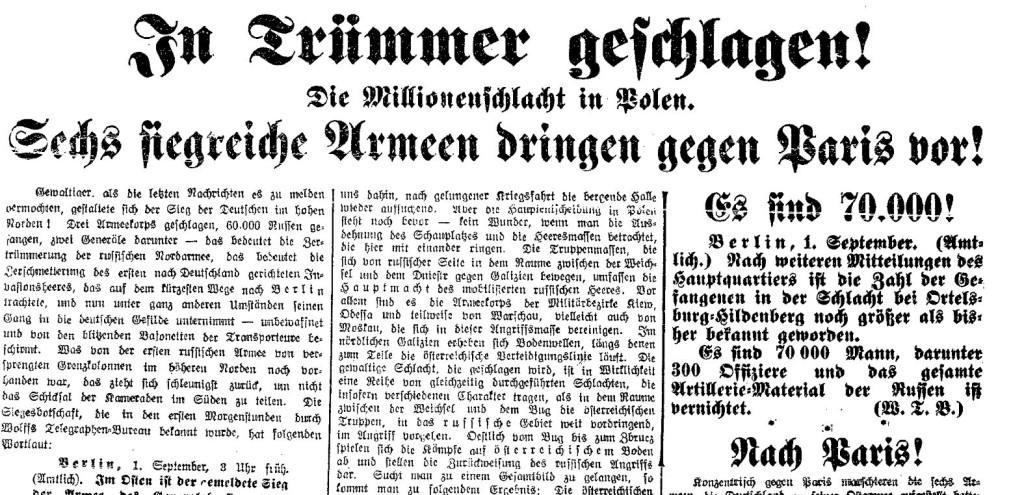 30.000, 70.000 Gefangene – die offiziellen »Erfolgsmeldungen« der Armee erscheinen auch in sozialdemokratischen Zeitungen. Ausschnitte der »Volksstimme« (Magdeburg) und der »Volkswacht« für Schlesien, Posen und die Nachbargebiete vom 1. September 1914.