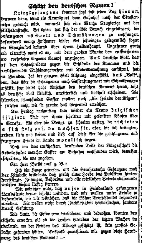 Gegen die öffentliche Verhöhnung von Kriegsgefangenen. »Volksstimme« (Magdeburg) vom 1. September 1914.