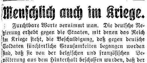 Ausschnitt aus dem Appell des »Lübecker Volksboten« vom 25. August 1914, die Menschlichkeit im Kriege nicht aufzugeben und nicht der Barbarei zu verfallen.