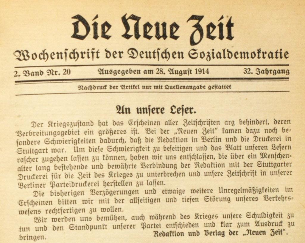 Mitteilung der »Neuen Zeit« an ihre Leserschaft vom 28. August 1914.