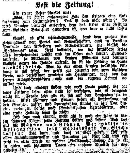 Ausschnitt eines Leserbriefs aus der »Volkswacht« für Schlesien, Posen und die Nachbargebiete vom 12. August 1914 mit der Aufforderung, das Parteiblatt nicht im Stich zu lassen.