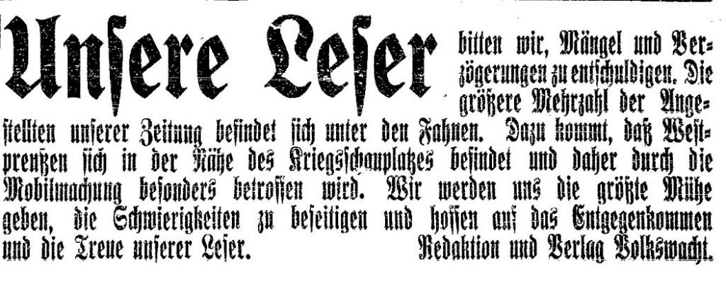 Mitteilung der »Volkswacht« (Westpreußen) vom 4. August 1914.