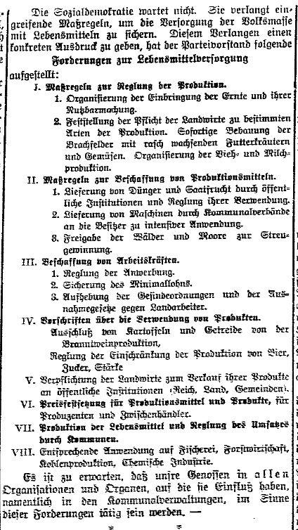 Ausschnitt aus der »Volksstimme« (Magdeburg) vom 15. August 1914.