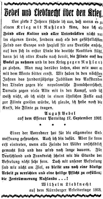 Zitate August Bebels und Wilhelm Liebknechts über den Krieg. Ausschnitt des »Lübecker Volksboten« vom 13. August 1914.