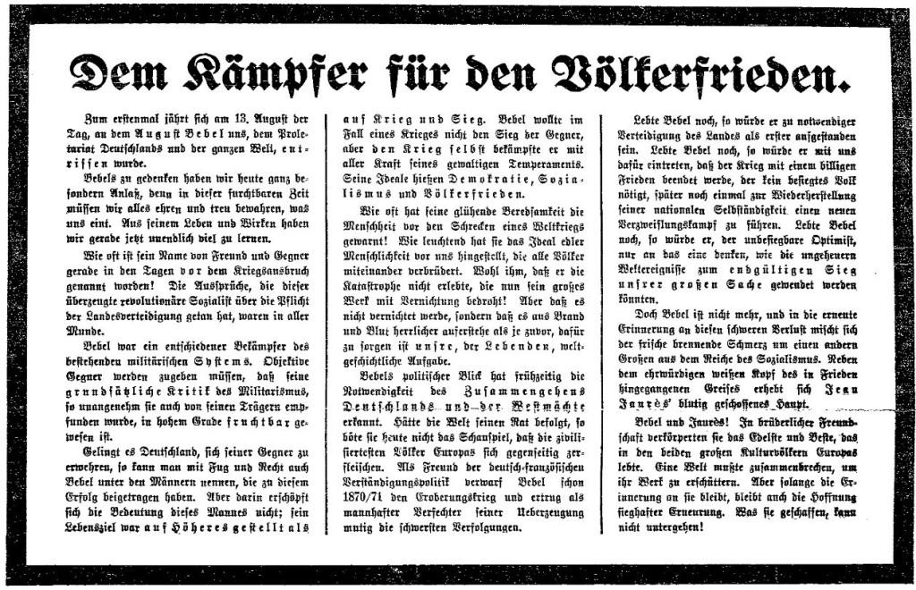 Bebel als Kämpfer für den Völkerfrieden. Ausschnitt aus der »Volksstimme« (Magdeburg) vom 14. August 1914.