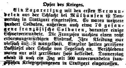 Meldung des »Lübecker Volksboten« vom 15. August 1914 zu Kriegsgefangenen und Verwundeten.
