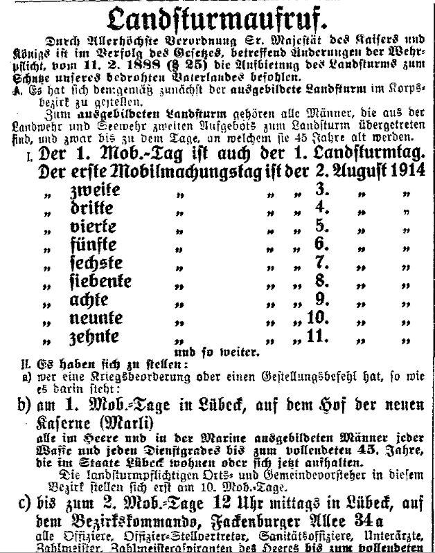 Auch der Landsturm, alle Wehrpflichtigen im Alter von 17 bis 42 respektive 45 Jahren, wurde einberufen. Ausschnitt des »Lübecker Volksboten« vom 3. August 1914.