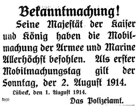 Befehl zur Mobilmachung im »Lübecker Volksboten« vom 3. August 1914.