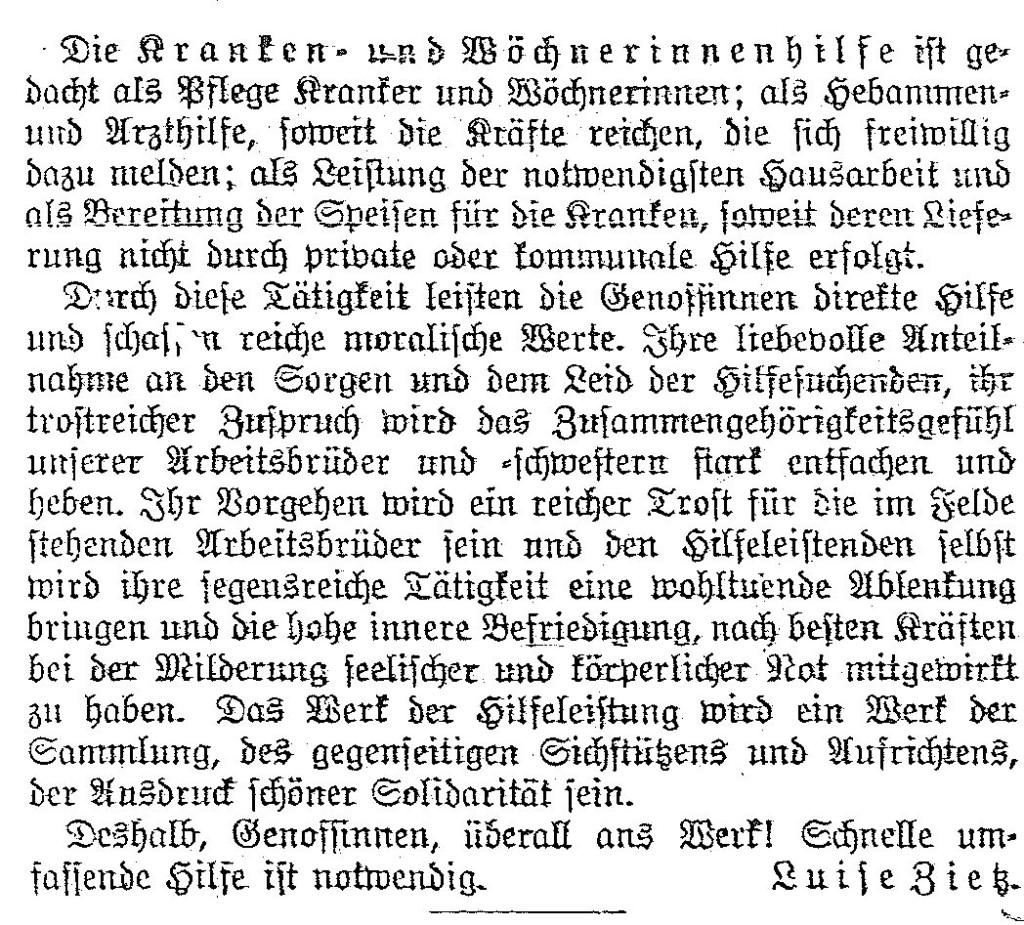 »Unsere Aufgaben« – Beitrag von Luise Zietz aus »Die Gleichheit« vom 28. August 1914.