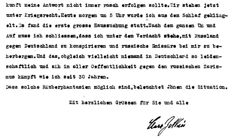 Clara Zetkin hatte selbst in einem Brief über die Durchsuchung berichtet. Ausschnitt aus dem Brief Clara Zetkins vom 2. August 1914 wegen Verlegung der Internationalen Konferenz der Sozialistischen Frauen und Arbeiterinnenorganisationen.