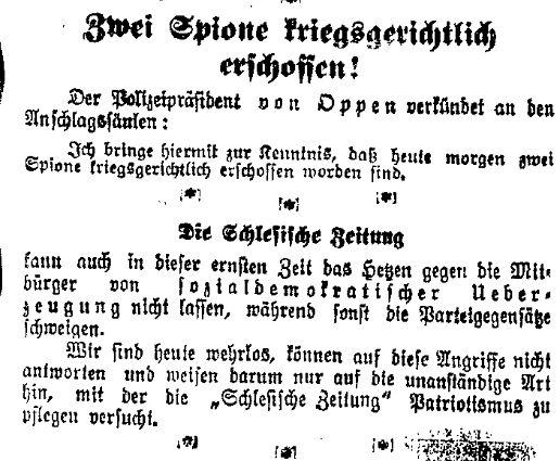 Spionagefälle und Hetze gegen Sozialdemokraten – Meldungen der »Volkswacht« für Schlesien, Posen und die Nachbargebiete vom 3. August 1914.