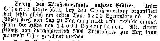 In Zeiten kriegsbedingter Absatzprobleme erlangte der Straßenverkauf für Zeitungen eine zentrale Bedeutung. Ausschnitt aus dem »Lübecker Volksboten« vom 1. September 1914.