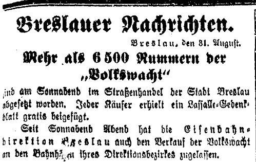 Zum 50. Todestag Ferdinand Lassalles gab es ein Gedenkblatt. Meldung der»Volkswacht« für Schlesien, Posen und die Nachbargebiete vom 31. August 1914.