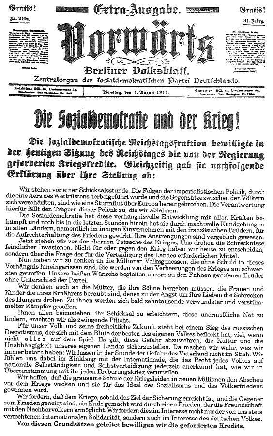 Die von Hugo Haase im Reichstag abgegebene Erklärung wurde noch am selben Tag veröffentlicht. Extraausgabe des »Vorwärts« vom 4. August 1914.
