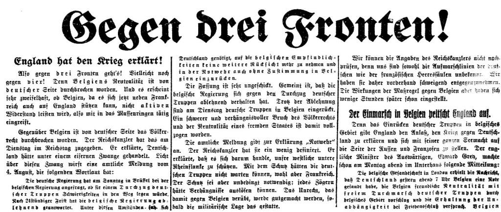 »Ein schwerer und verhängnisvoller Bruch des Völkerrechts« – Ausschnitt aus der »Volksstimme« (Magdeburg) vom 6. August 1914.