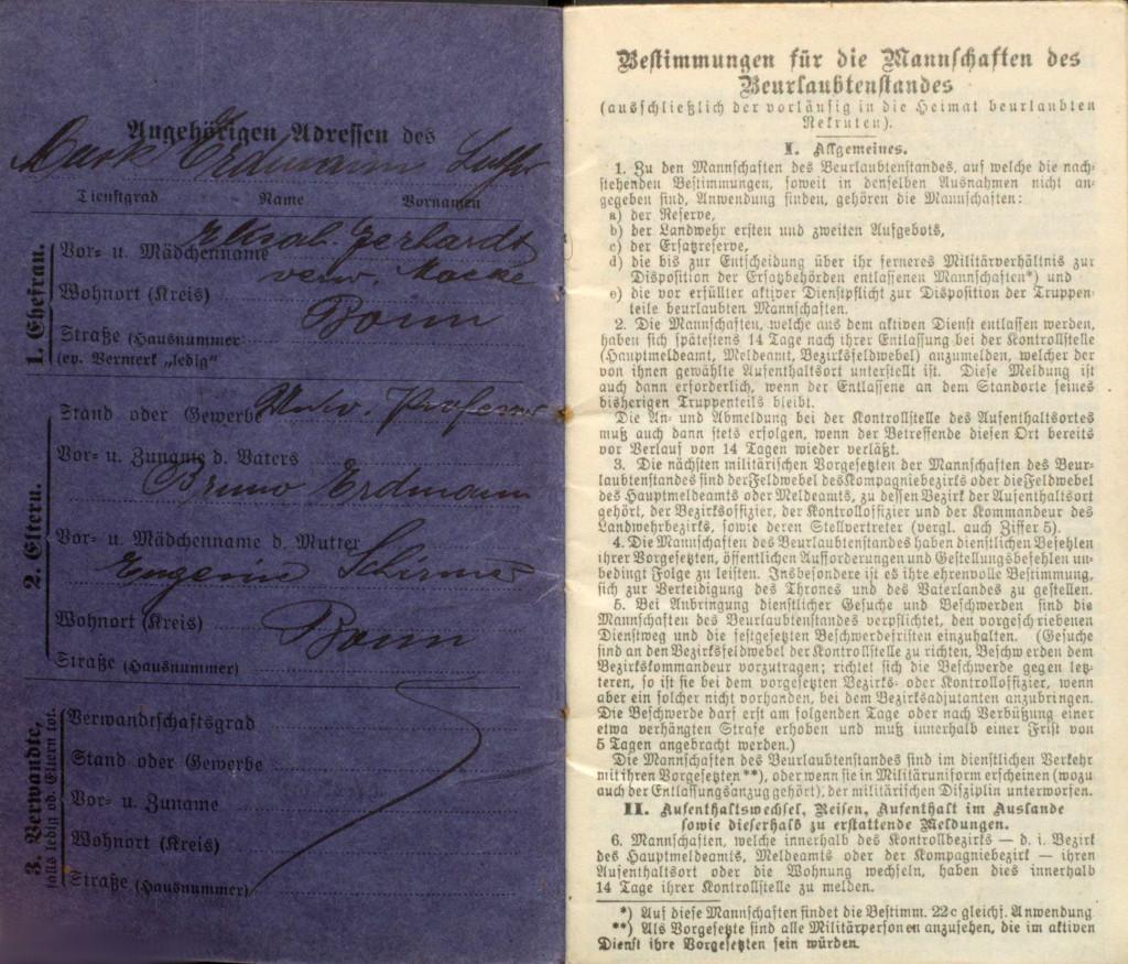5.8._Lothar Erdmann Militaerpass1_Sozialdemokratie1914