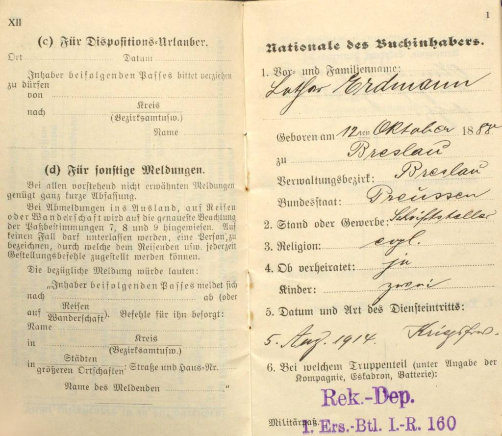 Die ersten Seiten des Militärpasses von Lothar Erdmann. Quelle: 1/LEAA000002, Nachlass Lothar Erdmann, Archiv der sozialen Demokratie der Friedrich-Ebert-Stiftung.