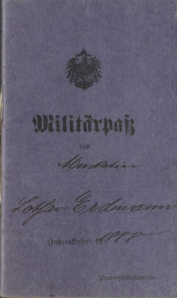 5.8._Lothar Erdmann Militaerpass_Sozialdemokratie1914