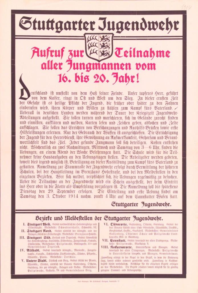 Plakat aus Stuttgart mit dem Aufruf, sich zur Jugendwehr anzumelden. Quelle: Archiv der sozialen Demokratie der Friedrich-Ebert-Stiftung.