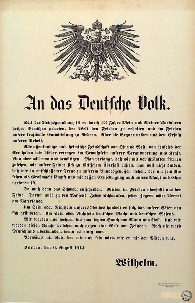 Plakat mit der Rede des Kaisers vom 6. August 1914. Quelle: Archiv der sozialen Demokratie der Friedrich-Ebert-Stiftung.