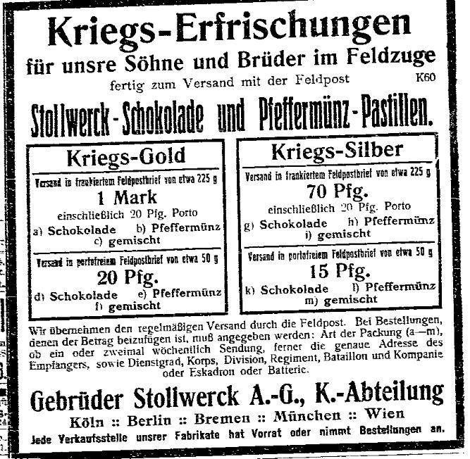 »Kriegshumor« und »Kriegs-Erfrischungen« – Unterhaltungsrubrik und Anzeige der »Volksstimme« (Magdeburg) vom 16. September 1914.