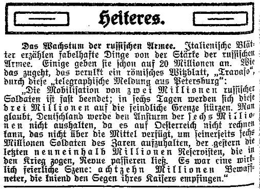 Im »Lübecker Volksboten« wurde am 16. September 1914 unter der Rubrik »Heiteres« eine Zuspitzung der deutschsprachigen italienischen Satirezeitschrift »Travaso« zur Stärke der russischen Armee wiedergegeben.