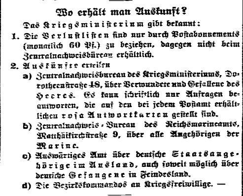 Meldung des Kriegsministeriums in der »Volksstimme« (Magdeburg) vom 12. September 1914.